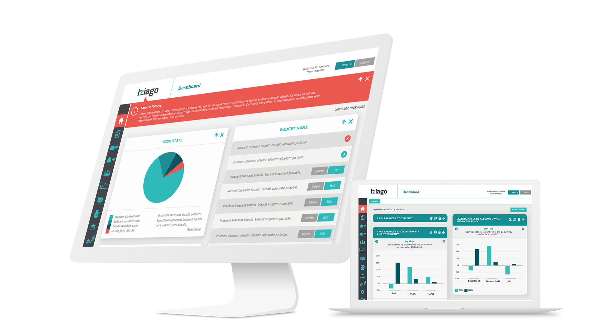 Iziago - Application en mode Saas de gestion de tresorerie internationnale